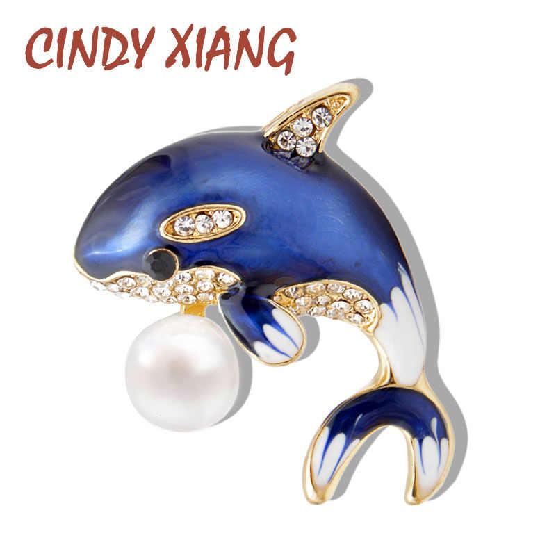 Cindy Xiang Baru Kedatangan Enamel Cute Blue Dolphin Bros untuk Wanita Rhinestone Inlay Mantel Musim Dingin Topi Bros Pin Fashion Perhiasan