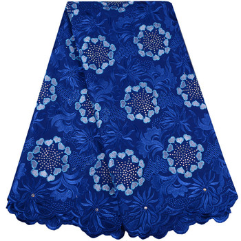 2018 Blue New design French Lace Fabric with rich stones High Quality Beautiful African Lace Fabrics For Nigerian Wedding 958