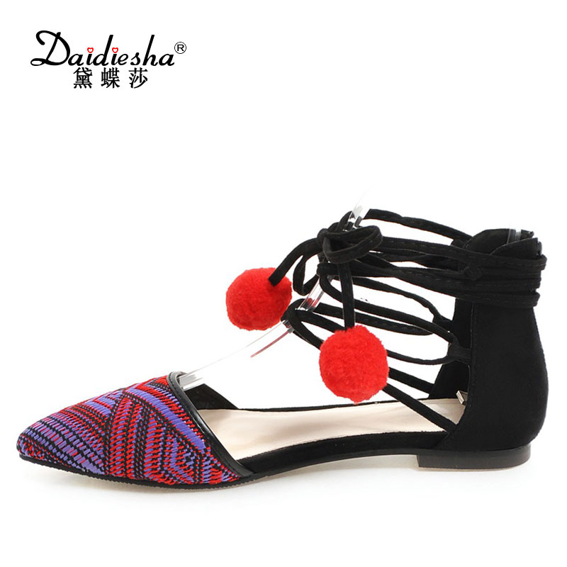Daidiesha Size 34-43 Women Flat Platform mixed colors shoes Red cotton ball Pointed Toe Shoes Ankle Strap flat schoenen vrouw women flat sandals fashion ladies pointed toe flats shoes womens high quality ankle strap shoes leisure shoes size 34 43 pa00290