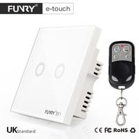 FUNRY ST1 UK Standard Remote Control Switch 2 Gang 1 Way Smart Wall Switch Wireless Remote