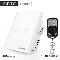 FUNRY ST1 UK Standard Remote Control Switch 2 Gang 1 Way Smart Wall Switch Wireless Remote