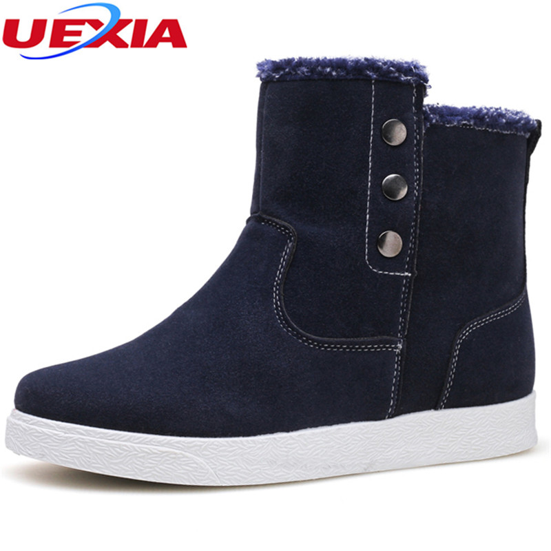 UEXIA Outdoor Warm Men Winter Snow Boots Casual Fashion High-Cut Anti-cold Hombre Faux Suede Leather Ankle Boot Work Plush Botas qiyhong brand waterproof winter warm snow boots men cow split leather motorcycle ankle fashion high cut male casual clearance