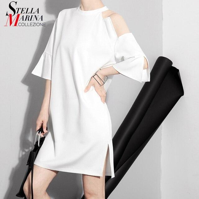 New 2018 Korean Style Black White Women Summer Dress One Shoulder Hollow Out Side Split Half Sleeve Girls Sweet Mini Dress 1281