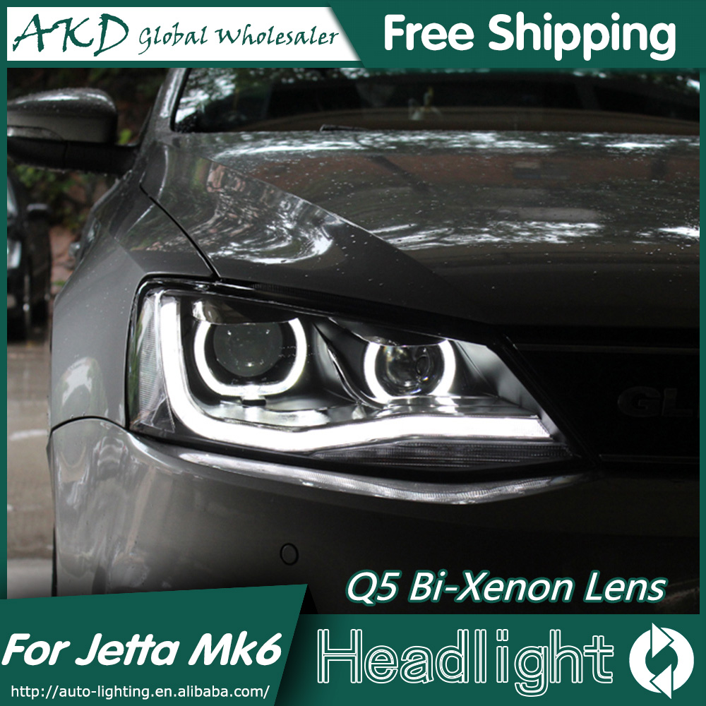 AKD Car Styling for VW Jetta MK6 Headlights 2011-2015 Angel Eye LED Headlight DRL Bi Xenon Lens High Low Beam Parking Fog Lamp hireno car styling for toyo ta corolla 2011 13 headlights led super bright headlight drl xenon lens high fog lam