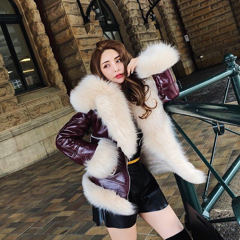 Col Veste Mode 2018 Red Doublure Marque Fourrure Cuir Big Fox De Manteau Parka Femmes Faux D'hiver Épaississent Lapin Wine xHYFAffq