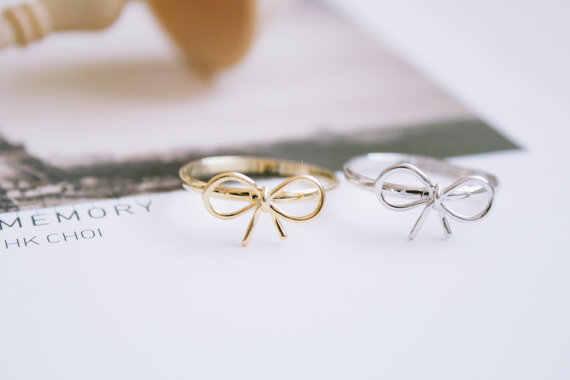 Jisensp 2019 ใหม่มาถึงน่ารักออกแบบโบว์ริบบิ้นแหวน Knuckle แหวนแฟชั่นเครื่องประดับสำหรับผู้หญิงน้องสาวที่ดีที่สุดของขวัญ bijoux