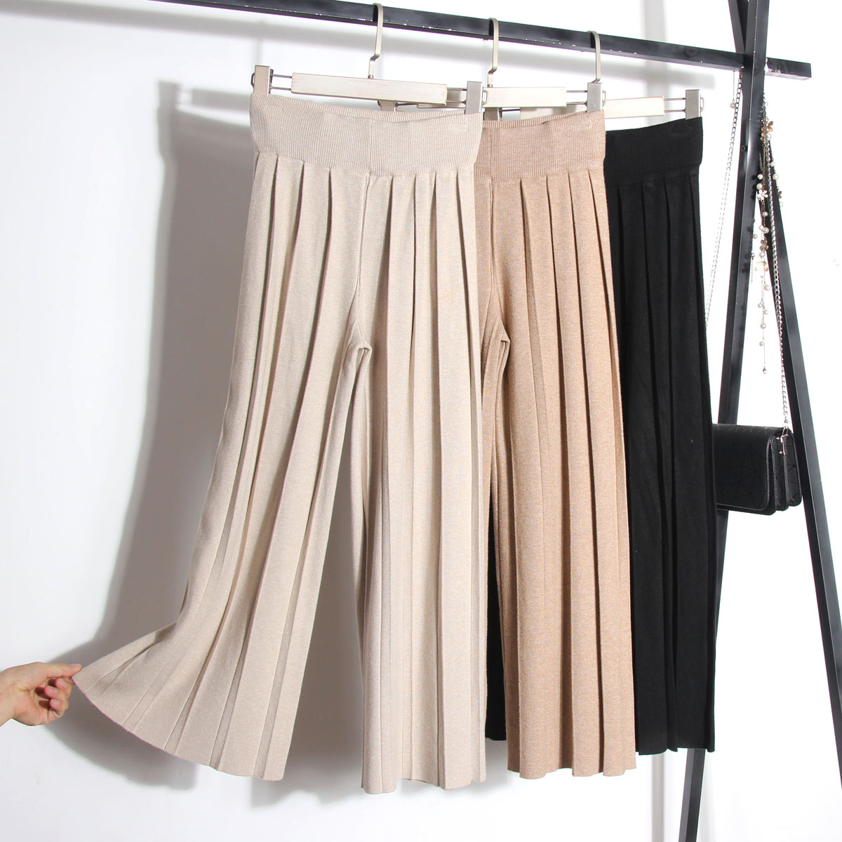 2018 Automne et D'hiver Nouvelle Tricoté Épais Taille Haute Paresseux À Bout de Souffle Pantalon Femmes de Lâche Sport Pantalon Loisirs Pantalon