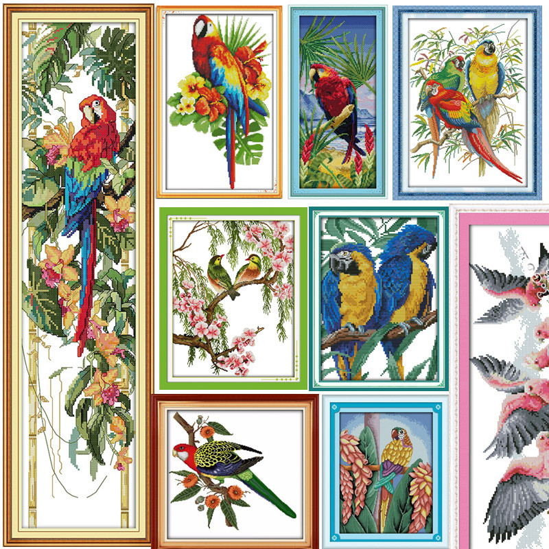 The Parrot And Flowers DMC Cross Stitch 14CT 11CT DIY Needlework Counted Chinese Cross-stitch Kits For Embroidery A Cross Crafts