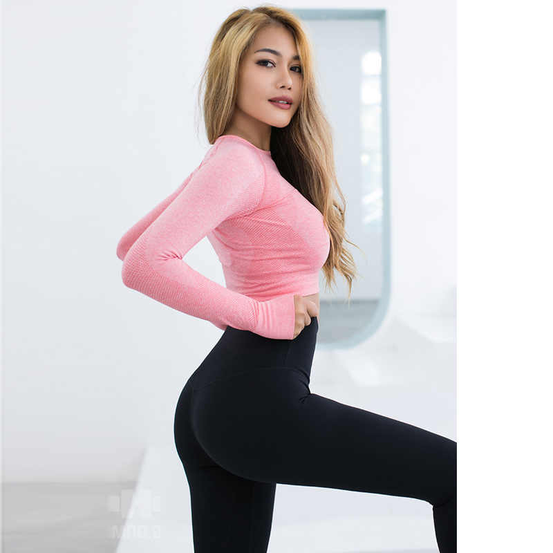 cf9f6929409f4 ... Vital Energy Seamless Long Sleeve Crop Top Shirts for Women Thumb Hole  Yoga Shirt Fitted Gym ...