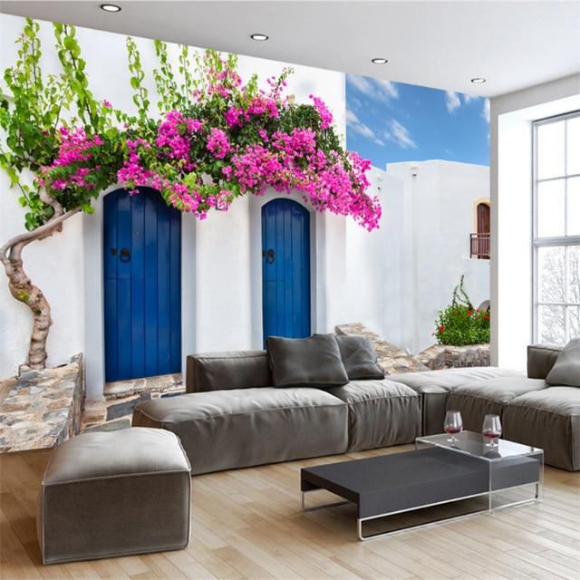 Kundenspezifische 3D Foto Tapetenwandbilder Romantische Griechenland  Wandbild Tv Hintergrund Wohnzimmer Schlafzimmer Hintergrund Wand Vlies  Tapeten