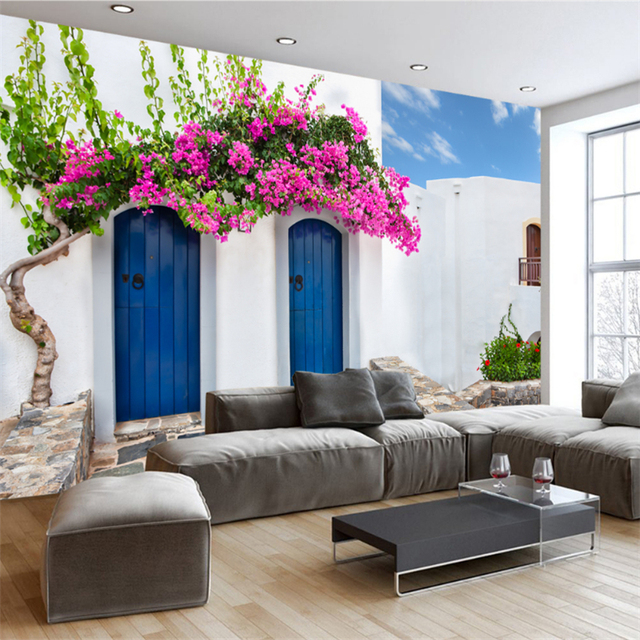 Personalizzato 3D Photo Wallpaper Murales Romantico Grecia Murale TV ...