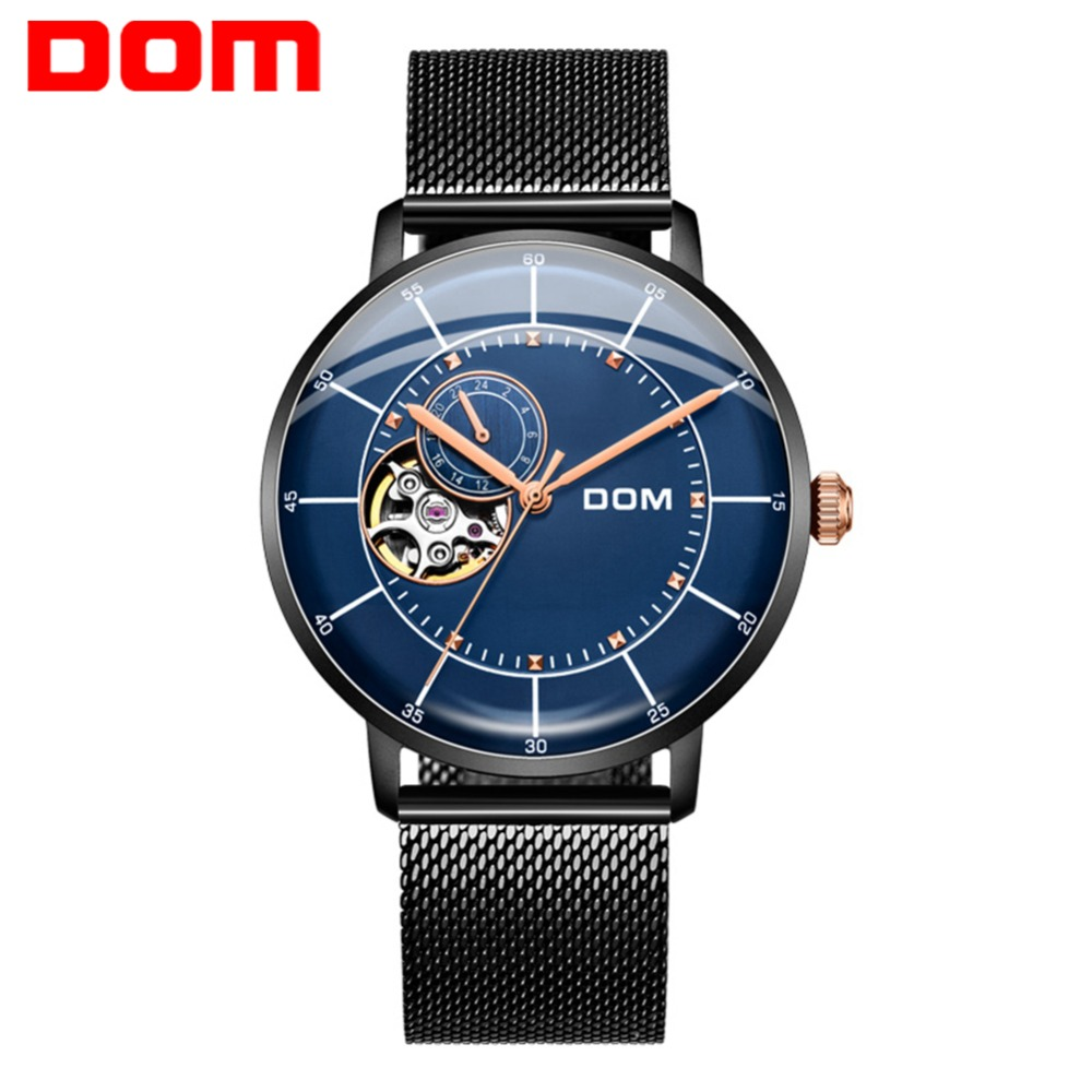 DOM Mens Fashion Casual Mechanical Watches Waterproof 30M Stainless Steel Band Luxury Automatic Business Watch Saat M-8119BK-2MDOM Mens Fashion Casual Mechanical Watches Waterproof 30M Stainless Steel Band Luxury Automatic Business Watch Saat M-8119BK-2M
