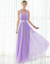 2016 Halter Chiffon Long Bridesmaids Dresses Bruidsmeisjes Jurk Sleeveless Wedding Guest Dresses Maid Of Honor Dresses