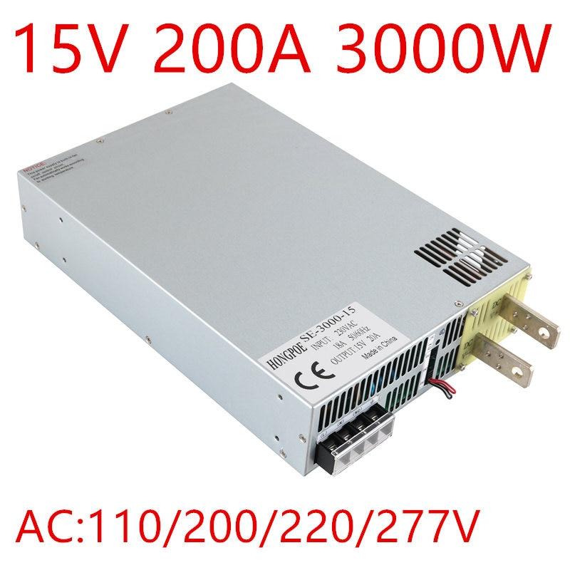 1PCS 3000W DC 0-15v power supply 15V 200A AC-DC High-Power PSU 0-5V analog signal control DC15V SE-3000-15 ghost se 3000 2013