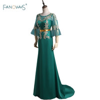 Classic 3 4 Sleeve Appliques Beading Long Sweep Train Evening Dresses With Sashes Floor Length Formal