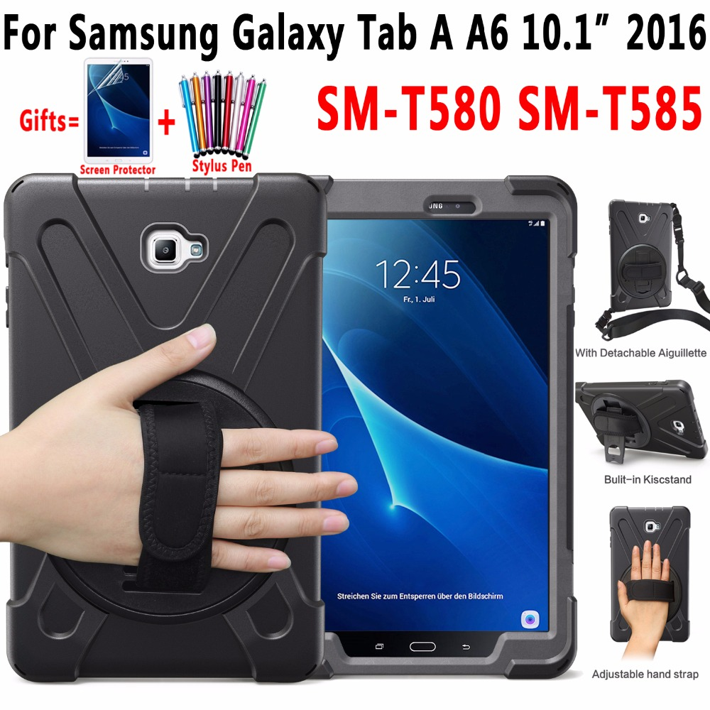 <font><b>360</b></font> Rotating Shockproof Case for Samsung Galaxy Tab A A6 <font><b>10.1</b></font> 2016 T580 T585 SM-T580 SM-T585 Hand Shoulder Strap Cover Funda image