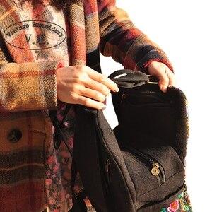 Image 4 - Mochila de lona étnica con bordado Vintage para mujer, bolso de viaje con bordado de flores hecho a mano, morral escolar, Mochila
