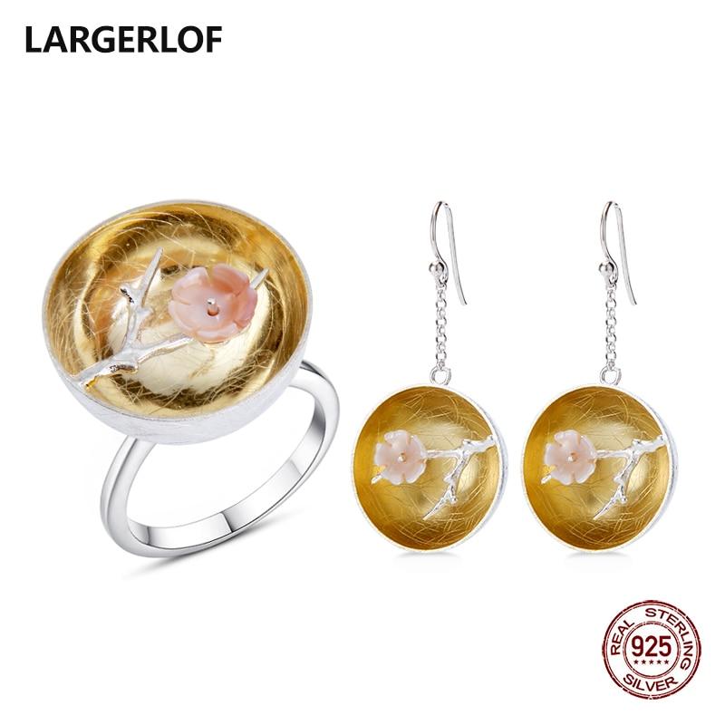 LARGERLOF Jewelry Sets Silver Women 925 Sterling Silver Fine Jewelry Handmade Jewelry 925 Silver Set Jewelry JS50018
