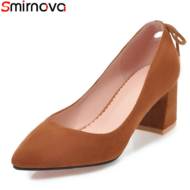 Smirnova Women Pumps High-Heels Party-Shoes Slip-On Big-Size Summer Thick Shallow 33-45