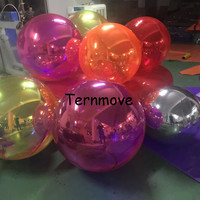 inflatable Mirror Balloon PVC silver red green purple blue gold inflatable mirror ball helium balloon for stage decoration