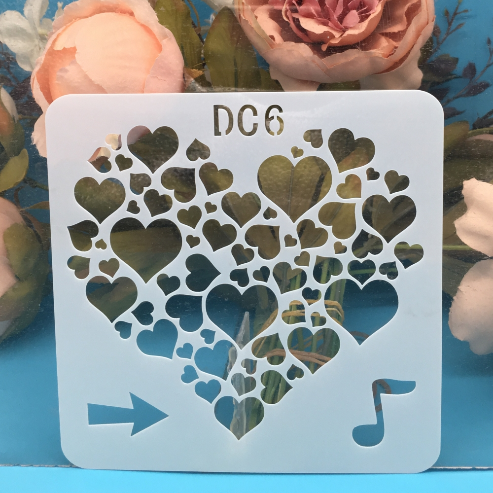 1Pcs 13cm Music Note Love Heart DIY Craft Layering Stencils Wall Paint Scrapbook Stamp Embossing Album Decorative Card Template