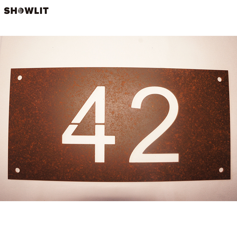 Modern Rusted House Number Door Sign Plaque custom acrylic frosted house sign modern number name plaque 200x140mm home