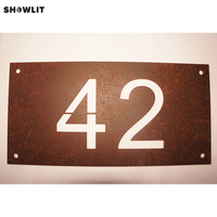 Modern Rusted House Number Door Sign Plaque