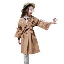 Длинная Верхняя одежда для девочек-подростков; сезон весна-осень новые детские хлопковые куртки Тренч с поясом для больших детей; P164
