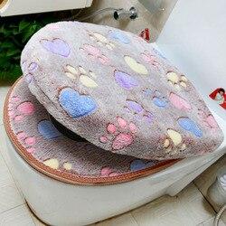 Épais corail velours luxe siège de toilette ensemble de couverture doux chaud fermeture éclair une/deux pièces toilette étui étanche salle de bain WC couverture SWZ051