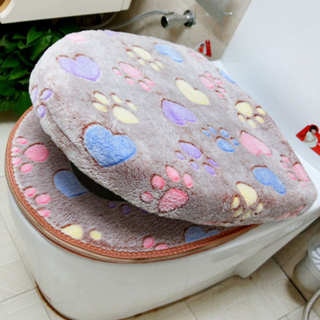 Thick Coral Velvet Luxury Toilet Seat Cover Set Soft Warm Zipper One /  Two Piece