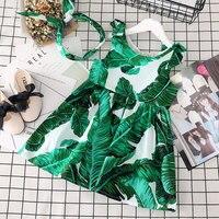 여자 조끼 여름 새로운 어린이 의류 녹색 잎 비치 아기 캐주얼 드레스 헤어 밴드
