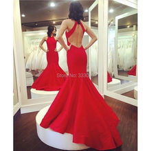 Red Mermaid Backless Abendkleid Tank Top Taft Lange Formale Abendkleid vestido de formatura robe de soiree