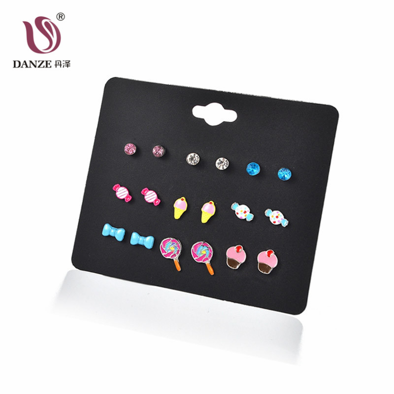 DANZE 9 Pairs/lot Sweets Stud Earring Set for Girls Cute Dol