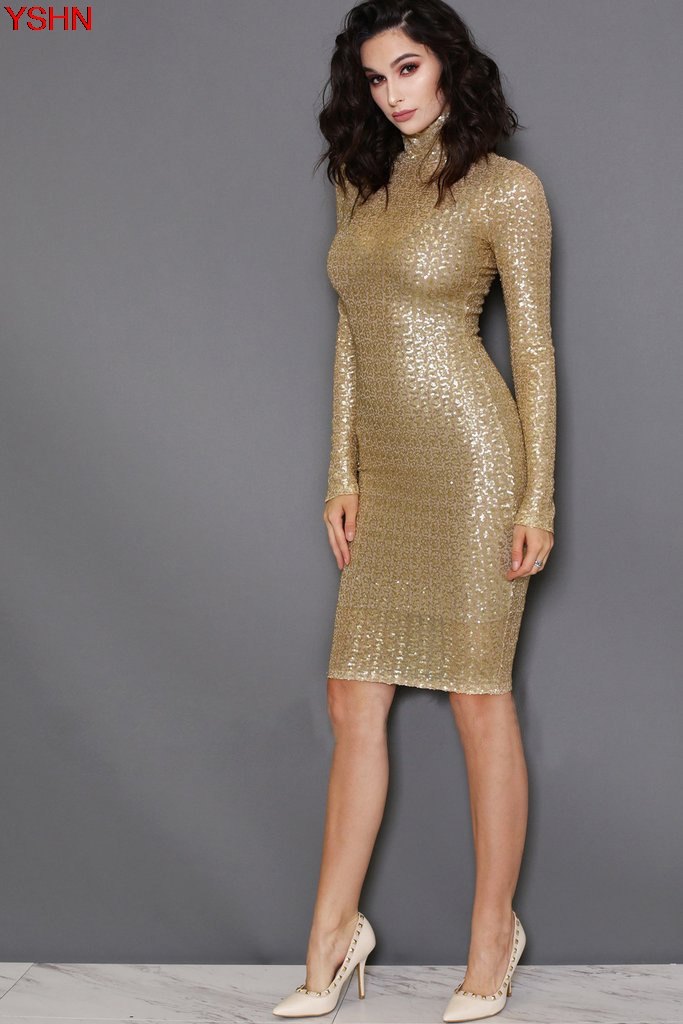 Buy Cheap New Middle - aged Women Sexy Dress Gold Senior Sequin Dress Spring and Summer Simple Brief Dress