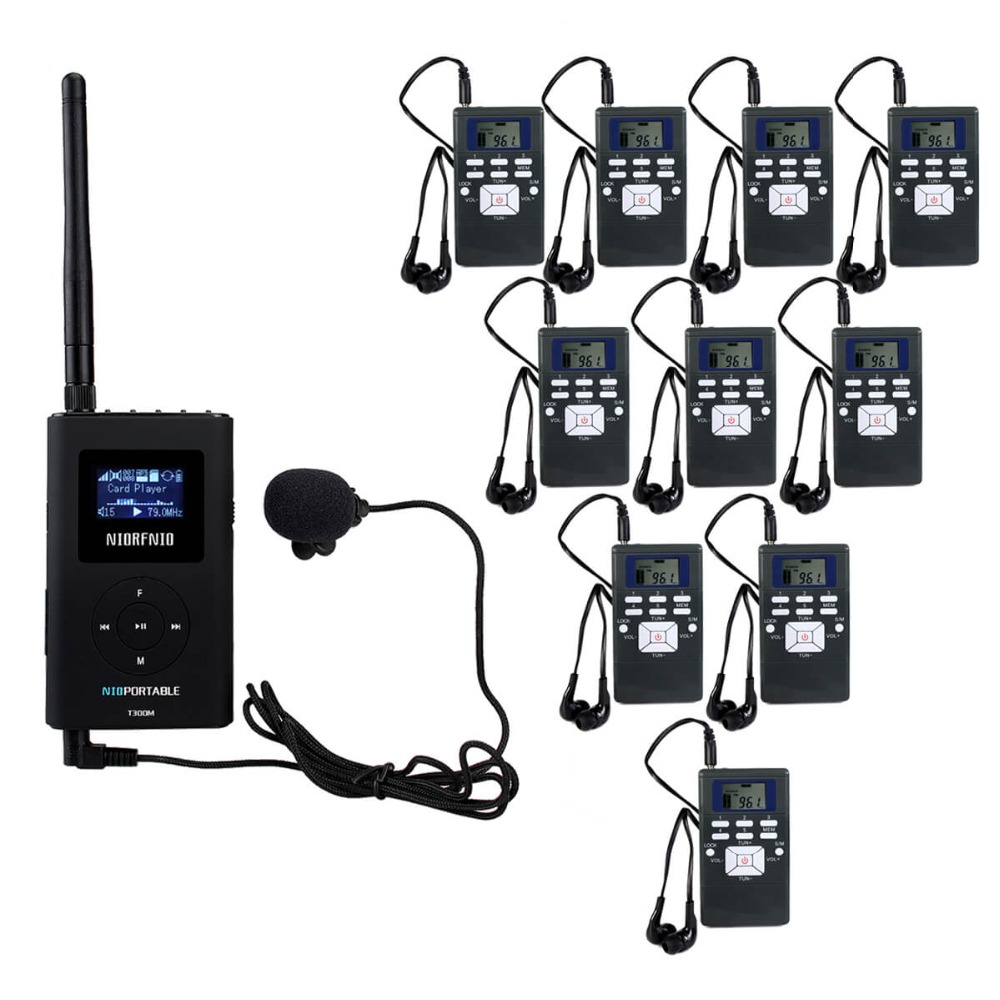 NIORFNIO 1 FM Transmitter+10 FM Radio Receiver Wireless Tour Guide System for Guiding Church Meeting Translation System Y4305A fm fm transmitter mp3 wireless microphone transmitter radio transmitter board module diy suit kit of parts