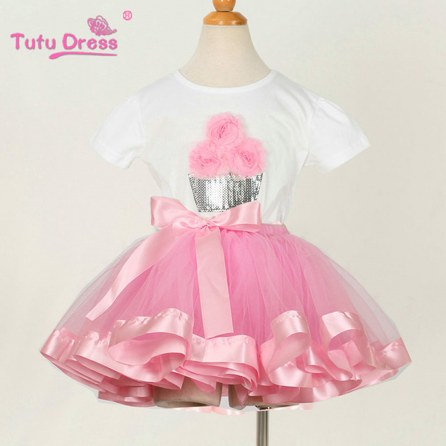 New 2018 Flower Party Dress Baby Girls Birthday Tutu Dresses Top T Shirt Skirt Set Up Costume For