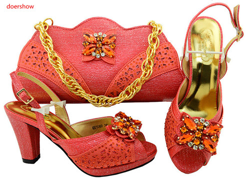 doershow coral African Women Shoes And Bag Set With Rhinestones Pumps Italian Shoes With Matching Bag For Evening Party HVP1-29 doershow latest african shoes and bag set for party italian fashion women sandal with matching bags set with rhinestones hjn1 12
