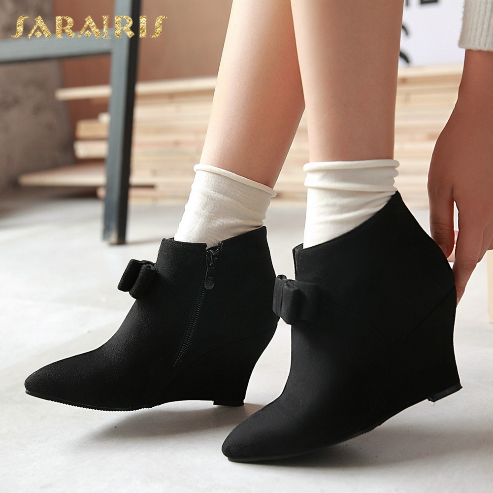 SARAIRIS 2018 Big Size 34-43 Ankle Boots Sweet Bow Wedge High Heels Pointed Toe Party womens Shoes Black Woman Booties