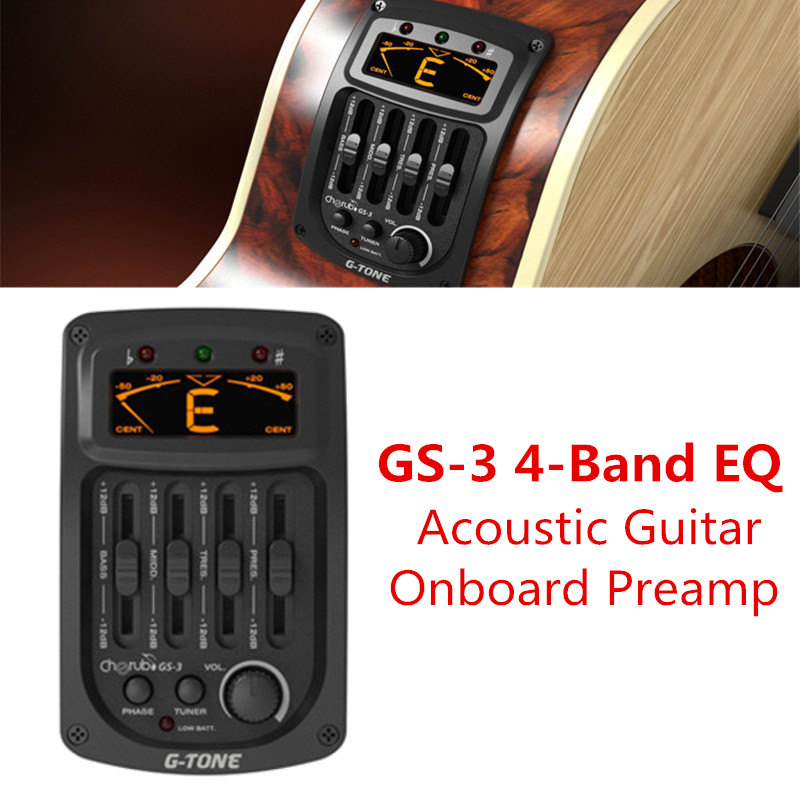 GS-3 Acoustic 4-Band EQ Equalizer Guitar Preamp Piezo Amplifier with Phase and LCD Chromatic Tuner Stringed Instruments Parts 4 band eq 7545 guitar piezo preamp amplifier equalizer tuner for acoustic guitar comp parts