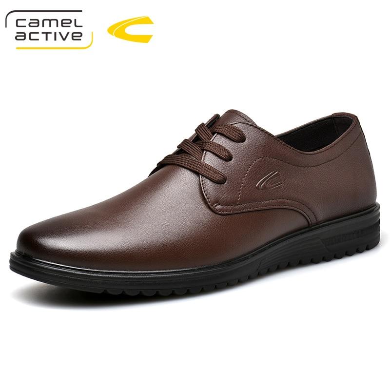 Ayakk.'ten Resmi Ayakkabılar'de Deve Aktif 2019 Yeni Erkek Düğün Siyah Lace Up Oxford Hakiki deri ayakkabı İlkbahar/Sonbahar Parti Iş Erkek Elbise Kahverengi ayakkabı'da  Grup 1
