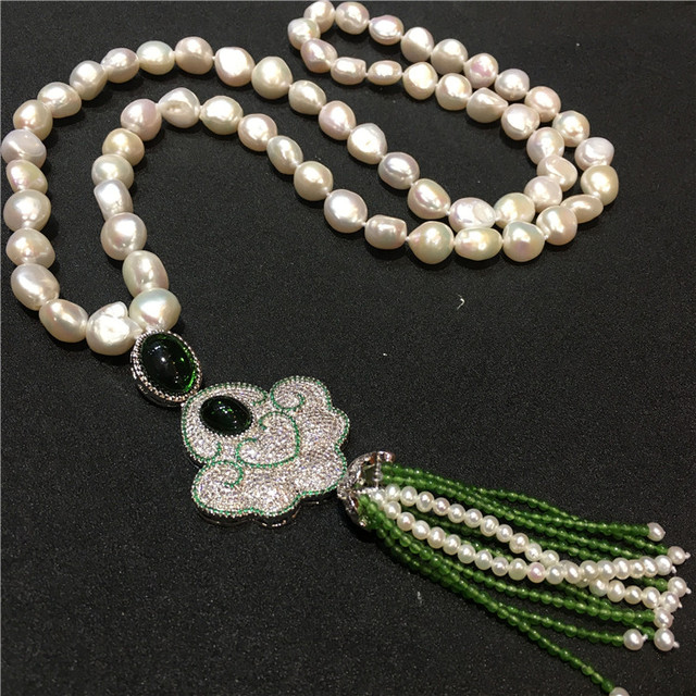 4a53965f945e Mano nuevo blanco natural barroco perlas largo suéter cadena borla de  piedra verde joyería de moda