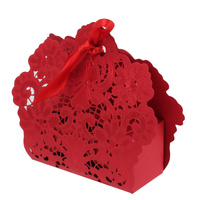 50Pcs Gold Red Wedding Favor Box Gift Bags Rose Laser Cut Hollow Candy Box With Ribbon