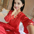 Female Thin Silk Sleepwear Long-sleeve V-neck Sexy Sweet Red Silk Satins Lounge Spring Antumn Ladies Nightgown Red,Pink,champany