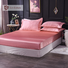Liv-Esthete Wholesale Luxury 100% Silk Pink Jade Fitted Sheet Silky Mattress Cover Elastic Band Decor Bed Sheets For Women 1pcs 2017 tourmaline jade mattress thermal mattress jade korea jade heated sleeping mattress with free gift sleep eye cover 0 7x1 6m