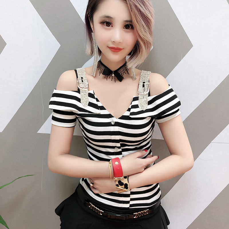 Sexy Slash Neck Off Shoulder Diamonds Pullover Tshirt 2019 Striped Women Short Sleeve Top Shirt Clothes Camiseta Mujer T96704