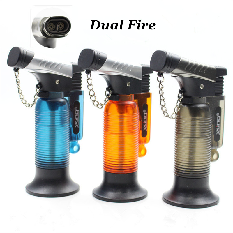 Image 2 - Two Nozzle BBQ Cooking Welding Torch Lighter Butane Jet Gas Lighter Turbo Portable Spray Gun 1300 C Windproof Cigar Pipe Lighter-in Matches from Home & Garden