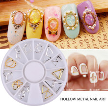 New 24pcs/set Gold Silver 3d Hollow Metal Frame Nail Art Studs DIY Nail Decoration Wheel(China)