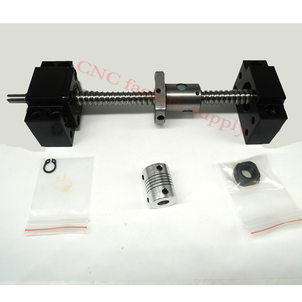 SFU1204 set:SFU1204 L-400mm rolled ball screw C7 with end machined + 1204 ball nut + BK/BF10 end support + coupler for CNC parts