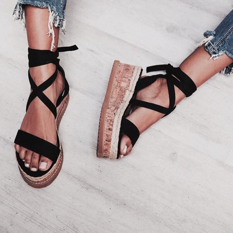 Teahoo Black Ankle Strap Women Sandals