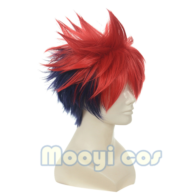 Image 2 - Shokugeki No Soma Yukihira Souma Cosplay Wig for Men Boys 30cm Short Straight Heat Resistant Synthetic Hair Blue Red MixedAnime Costumes   -